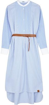Loewe Blue Striped Belted Cotton Midi Dress
