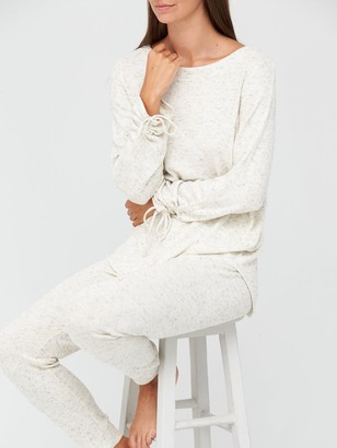 Very Ruched Sleeve Top & Legging Lounge Set - White