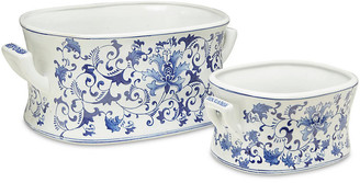 One Kings Lane Asst. of 2 Floral Foot Baths - Blue/White