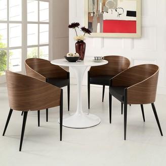 Modway Cooper Walnut Veneer Wrap-around Dining Chairs