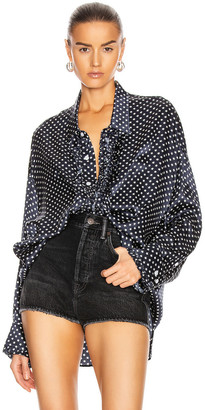R 13 Drop Neck Tuxedo Shirt in Navy Star | FWRD