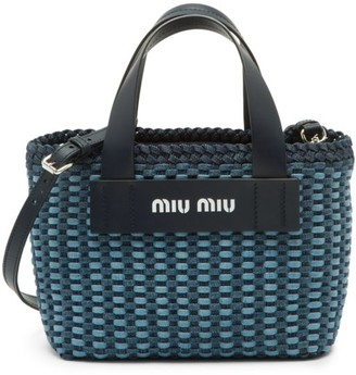 Miu Miu Woven Denim & Leather Tote