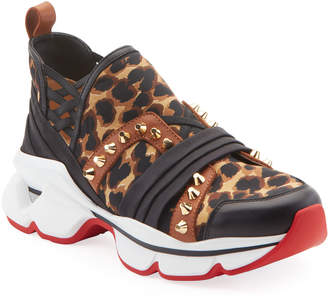 Christian Louboutin 123 Run Leopard Red Sole Sneakers