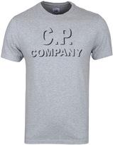 Cp Company Grey Marl Crew Neck Logo T-shirt