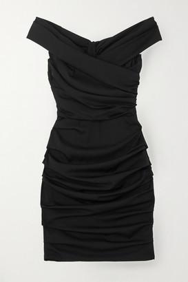 Dolce & Gabbana Gathered Silk-blend Dress - Black