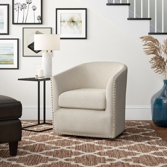 """Three Posts Leominster 28"""" W Polyester Swivel Barrel Chair Fabric: Natural"""