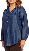 Intro Plus Denim Roll-Tab Sleeve Button Collar Pocket Tunic