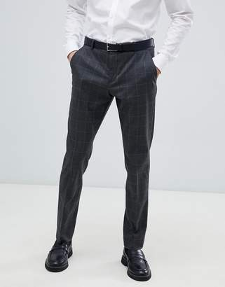 Selected Grey Suit Trouser With Grid Check In Slim Fit-Navy