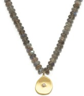 Lola Rose London Large Coin Charm Necklace Labradorite