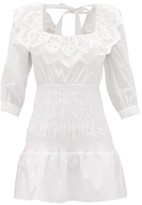 Self-Portrait Shirred Cotton-poplin Mini Dress - Womens - White