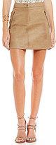 J.o.a. Faux-Leather A-line Skirt