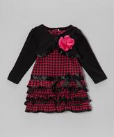 Nannette Dark Pink Drop-Waist Dress & Shrug - Infant