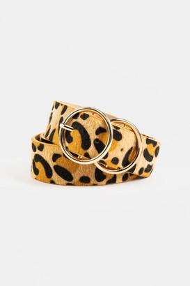 francesca's Anitta Leopard Double Circle Belt - Leopard
