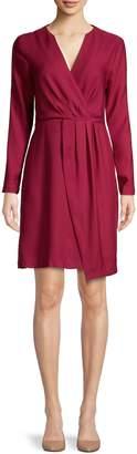 Halston H Faux Wrap Satin Fit--Flare Dress