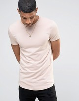 Asos Longline Muscle T-shirt With Curved Hem In Pink