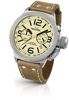 TW Steel Canteen Leather Unisex Quartz Watch with Yellow Dial Chronograph Display and Brown Leather Strap CS14