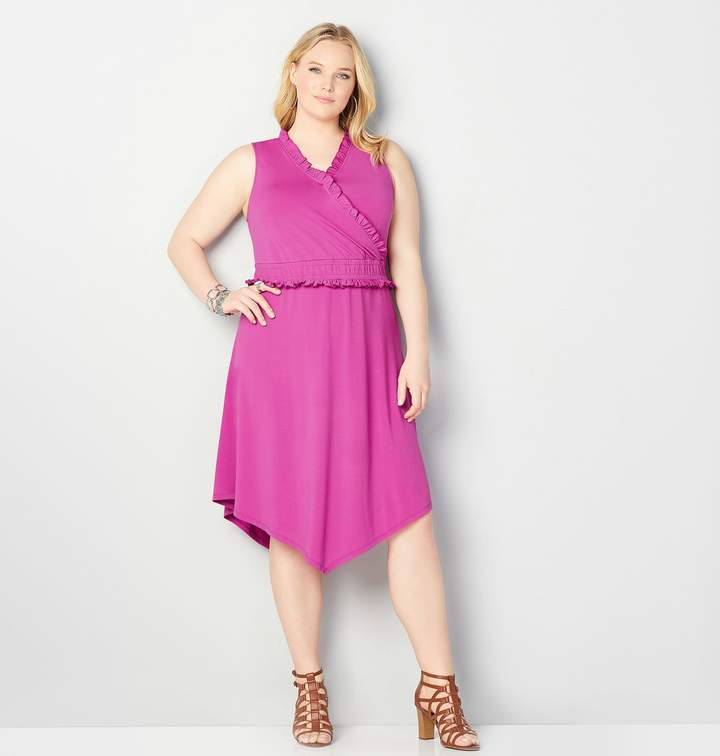 Plus Size Ruffled Asymmetrical Dress