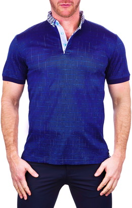 Maceoo Mozartwindow Blue Button-Down Polo