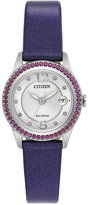Citizen Women's Silhouette Crystal Jewelry Purple Leather Strap Watch 29mm FE1128-06A, A Macy's Exclusive
