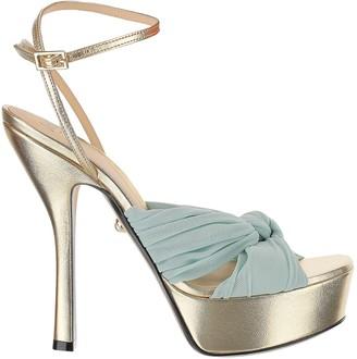 ALEVÌ Milano Eleonor Blue Braided Band & Laminated Gold Leather High Heel Platform Sandals