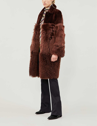 Whistles Cosma reversible contrast-panel shearling coat