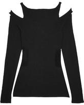 Roberto Cavalli Cutout Stretch-knit Top - Black