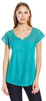 Fresh Women's Dolman Sleeve Lace Paneled Top