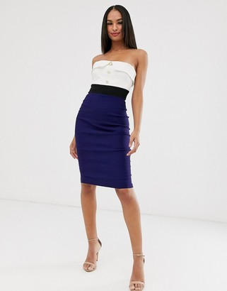 Vesper button detail bandeau dress