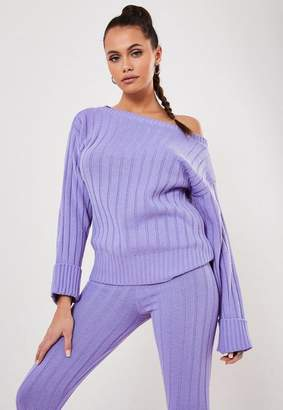Missguided Lilac Co Ord Rib Off Shoulder Sweater