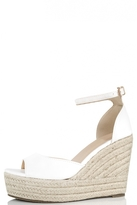 Quiz White Faux Leather Hessian Wedges