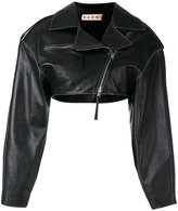Marni cropped biker jacket - women - Silk/Leather - 42