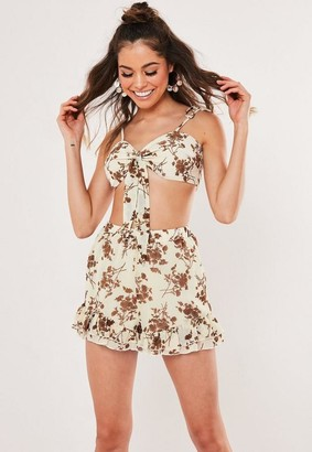 Missguided Floral Print Co Ord Tie Front Bralet