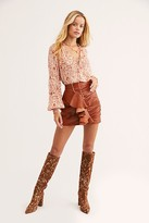 Free People Leather Ruffle Mini Skirt by Understated Leather at Free People, Brown, XS