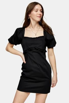 Topshop Womens Black Poplin Mini Tea Dress - Black