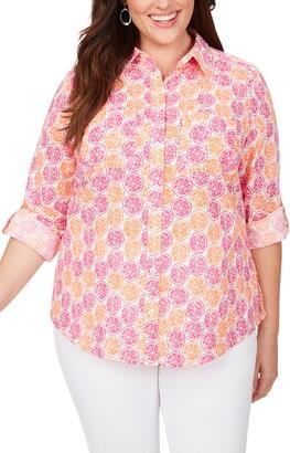 Foxcroft Zoey Citrus Slices Print Cotton Shirt