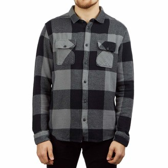 RVCA Men Haywire Plaid Button-Up Flannel Grey Medium