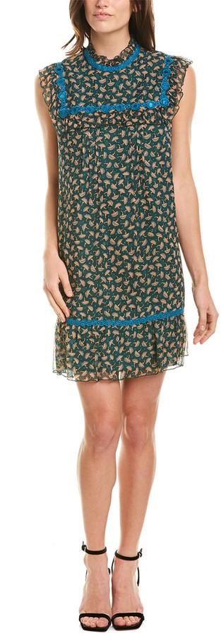 Anna Sui Fluttering Fans Silk Shift Dress