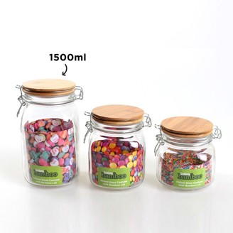 Scullery Bamboo & Glass Clip Canister 1.5L