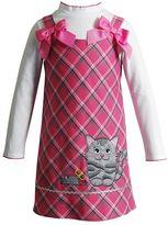 Youngland Toddler Girl Turtleneck & Plaid Cat & Mouse Jumper Dress Set