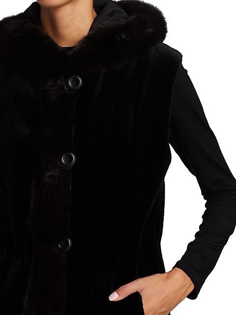 Thumbnail for your product : The Fur Salon Sable Fur-Trimmed Mink Fur Reversible Vest