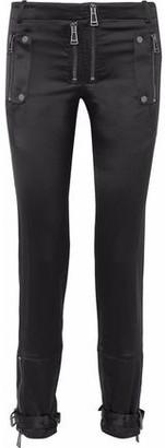 Belstaff Zip-detailed Silk And Wool-blend Satin Slim-leg Pants