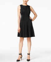 Calvin Klein Petite Piped Fit & Flare Dress