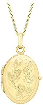 Camilla And Marc Carissima Gold Women's 9 ct Yellow Gold Large Oval Flower Locket Pendant on Curb Chain Necklace 41 cm