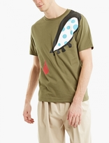 J.w. Anderson Khaki Printed Cotton T-shirt