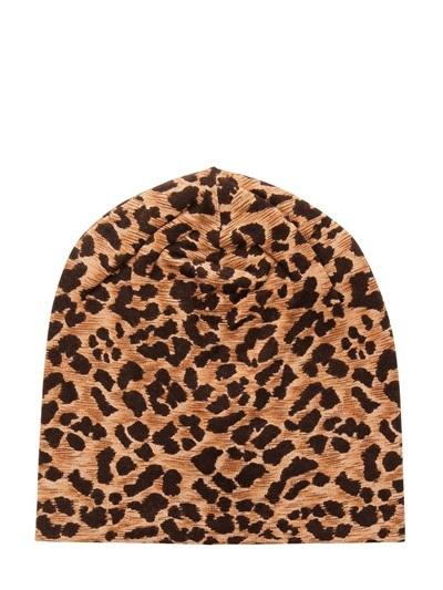 Dolce & Gabbana Leopard Printed Stretch Virgin Wool Hat