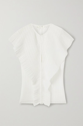The Row Wiola Layered Plisse-chiffon Blouse - Off-white