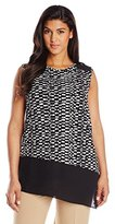 Vince Camuto Women's Plus-Size Sleeveless Tropic Etching Top