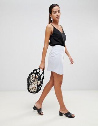 Asos Design DESIGN tailored mini skirt with Curved hem-Blue
