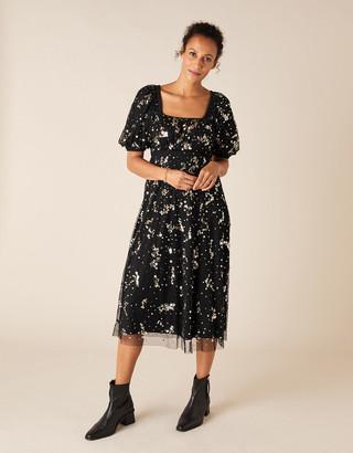 Monsoon Selena Star Sequin Midi Dress Black