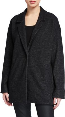 Eileen Fisher Wool Notch-Collar Long Jacket
